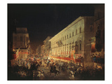 Candlelit Procession Through Via Del Corso, Rome, Italy Giclee Print by Ippolito Caffi