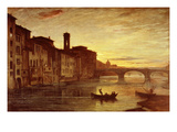 River Arno at Sunset Near Santa Trinità Bridge, Florence, Italy Giclee Print by Antonio Fontanesi