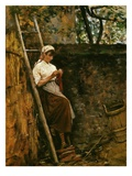 Woman Knitting Reproduction procédé giclée par Silvestro Lega