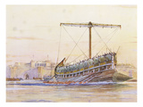 Assyrian Galley, Watercolour Reconstruction, Late 19th - Early 20th Century Premium Giclee Print by Albert Sebille