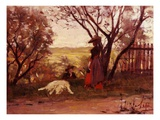 The Owner of the Garden Giclee Print by Silvestro Lega
