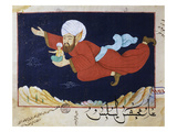 Aladdin Transported by the Genie, Illustrated Scene from 1001 Nights, Miniature Painting Giclee Print