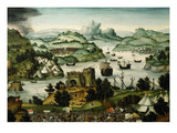 Landscape with Arrival of Fleet, from Judgement of Paris and Destruction of Troy (Detail) Giclee Print by Matthias Gerung