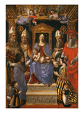 Madonna on Throne with Child, Angels, Doctors of Church and Family of Ludovico Sforza Giclee Print by  Master of the Pala Sforzesca