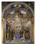 Madonna and Child with Saints; the Resurrection, Frescoes in Tiranni Chapel, 1491 Giclee Print by Giovanni Santi Or Sanzio