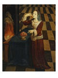 Young Lady Eats Cherries by a Wood Fire, Italianate Mural Painting, Mid 16th Century Studiolo Giclée-tryk af Italian School
