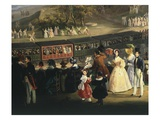 1st Train on Naples to Portici Line Arriving at Granatello, 1839 (Detail) Giclee Print by Salvatore Fergola