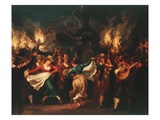 Nocturnal Dance in the Piazza Barberini, Rome Italy Giclee Print by Bartolomeo Pinelli