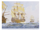 18th Century Ships in Single File Close-Hauled to Starboard Tack Giclee Print by Albert Sebille