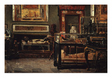 Room in Egyptian Museum, Turin, Italy, 1881 Giclee Print by Lorenzo Delleani