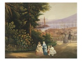 Women Walking; View of the Terraced Gardens, Naples, 1859 Giclee Print by Vicenzo Sorrentino