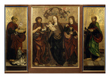 Virgin Mary and Christ Child Flanked by Saints John the Baptist and John the Evangelist Giclee Print by Andreas Haller