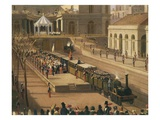 Inaugural Train Leaving Portici Station, Naples, Italy, 1839 (Detail) Giclee Print by Salvatore Fergola