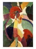 Femme À L'Ombrelle Ou La Parisienne (Woman with Umbrella or the Parisian Lady), 1913 Giclée-tryk af Robert Delaunay