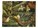 April or Aries with Ploughing with Oxen, Women in Garden and Rabbits in Forest Giclee Print by  Venceslao