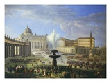 View of St Peter's Square with Military Parade Rome Italy Giclee Print by Michelangelo Pacetti