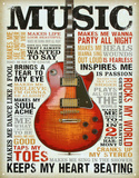 Music Inspires Me Distressed Retro Vintage Tin Sign Placa de lata