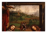 Landscape and Artist's Name with Date, from the Ghedini Altarpiece, 1497 (Detail) Giclee Print by Lorenzo Costa