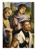 Men Worshipping Christ, from Pala Bentivoglio (The Bentivoglio Altarpiece) (Detail) Giclee Print by Francesco Francia