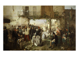 Arrival of Bulletin of the Conference of Villafranca, July 11, 1859 Giclee Print by Domenico Induno