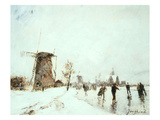 Skaters in Holland, C. 1860S Giclee Print by Johan Barthold Jongkind