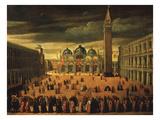 Procession in Saint Mark's Square, Venice, Italy Giclée-Druck von Cesare Vecellio