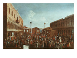 Charlatans and Travelling Players in Saint Mark's Square, Venice, Italy Giclee Print by Gabriele Bella