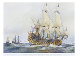 French Premier Rang, First Rating, Ship, of the Time of Colbert, Watercolour Reconstruction Giclee Print by Albert Sebille