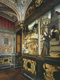 Italianate Mural Paintings and Ceiling, Mid 16th Century Studiolo Fotografisk tryk af Italian School