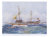 17th Century Maltese Galley Running with Wind to Stern, Watercolour Reconstruction Giclee Print by Albert Sebille
