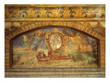 Abbey of Novacella or Neustift, Bressanone (Brixen), Italy, with its Emblem, Fresco, 1669-70 Giclee Print by Nikolas Schiel