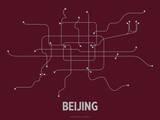 Beijing (Maroon) Sérigraphie par  Line Posters