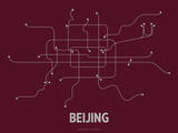 Beijing (Maroon) Serigraph by  Line Posters