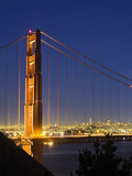 The Golden Gate Bridge and San Francisco at Night Photographic Print by James Forte
