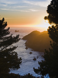 View from Marin Headlands of a Tanker Heading Out to Sea at Sunset Photographie par James Forte