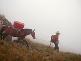 A Horseman Descends a Foggy Trail Through 'Halka' Grasslands Photographic Print by Gordon Wiltsie
