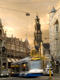 A Tram Near Westerkerk Church and Prisengracht Street Photographic Print by Daniella Nowitz