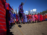 Masai Warriors Jumping Photographic Print by Michael Melford