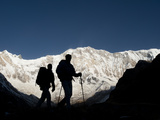 Trekkers on their Way Down from Annapurna Base Camp Photographic Print by Alex Treadway
