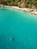 A Swimmer in the Clear Blue Waters of the Caribbean Sea Photographic Print by Heather Perry