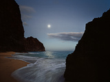 The Moon Silvers the Waves Washing Kalalau Beach Photographic Print by Diane & Len Cook & Jenshel