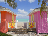 A Typical Tropical Scene with Colorful Buildings, Palms and Water Photographic Print by Mike Theiss