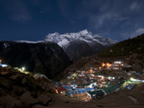 Spectacular Namche Bazaar in the Everest Region Lit-Up at Night Photographic Print by Alex Treadway