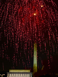 Independence Day Fireworks over the Lincoln Memorial and the Mall Photographic Print by Paul Sutherland