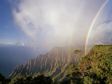 An Iridescent Double Rainbow Arcs over the Kalalau Valley Photographic Print by Diane & Len Cook & Jenshel