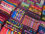 Hand Made Inca Purses for Sale by a Street Vendor Lámina fotográfica por Melford, Michael