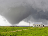 A Powerful Tornado Approaches a Church and Just Misses Hitting It Photographic Print by Mike Theiss