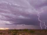 Intense Purple Lightning Bolts Strike in the Desert of New Mexico Fotografie-Druck von Mike Theiss