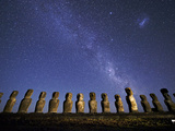 A Beautiful Night Sky Above Moai on Easter Island Photographic Print by Jim Richardson