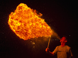 George Kourounis Breathes Fire in the Darkness of the Night Photographic Print by Mike Theiss